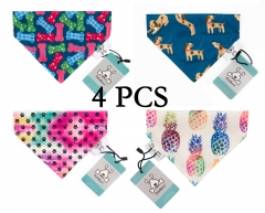 CuteBone 4 Pcs Dog Puppy Bandana Triangle Bibs Scarfs Accessories for Pet Dog Cats