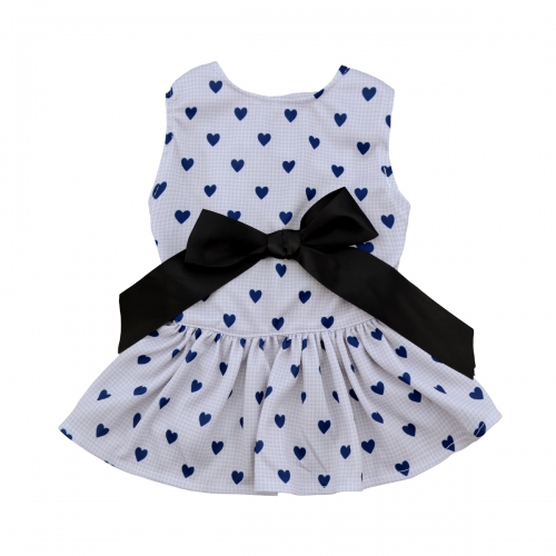CuteBone Polka dot dress with elegant ribbon for dog baby