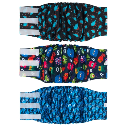 3pcs Washable Belly Bands for Male Dogs -- Dinosaur&Shark